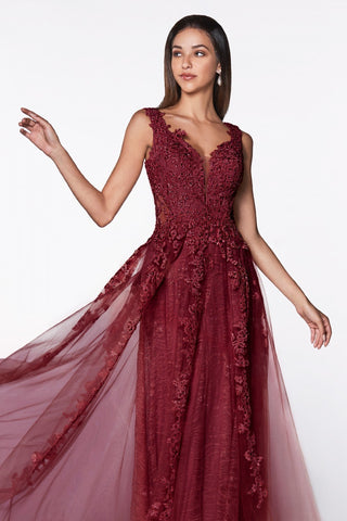 Cinderella Divine CD4091 Flowy A-Line Lace Tulle Dress Burgundy Deep V-Neckline