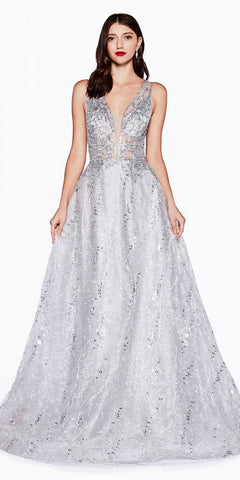 Cinderella Divine CD46 Silver A-Line Prom Ball Gown V-Neck and Back