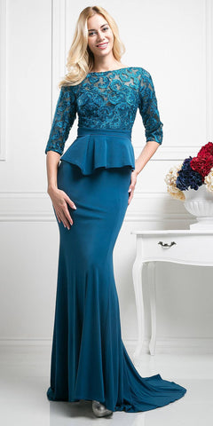 Cinderella Divine CD486 Teal Quarter Sleeves Peplum Full Length Formal Dress