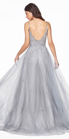 Cinderella Divine CD50 Floor Length A-Line Tulle Layer Dress Silver Lace Applique Bodice Open Back