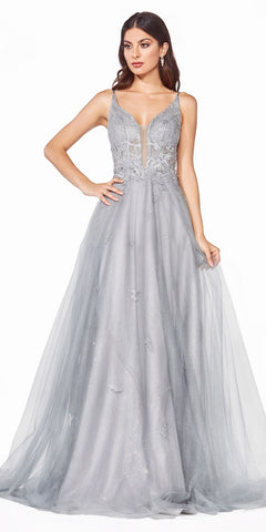 Long A-Line Dress Smokey Blue Beaded Applique Bodice Layered Tulle Skirt