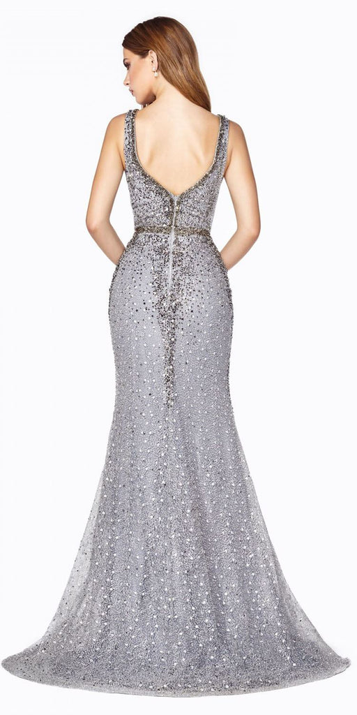 Cinderella Divine CD54 Long Fitted Lace Dress Smokey Blue Rhinestone Finish Deep Plunging Neckline