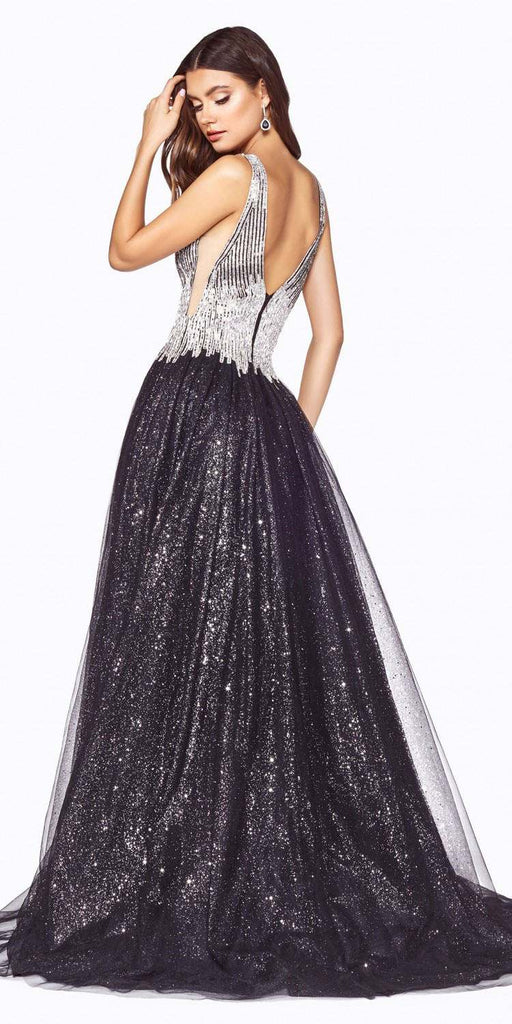 Cinderella Divine CD70 Layered Glitter Tulle Ball Gown Black/Silver Beaded Bodice Deep Plunging Neckline