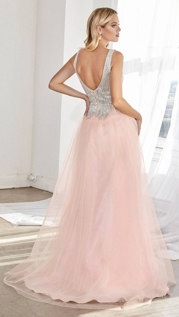 Cinderella Divine CD70 Layered Glitter Tulle Ball Gown Blush Beaded Bodice Deep Plunging Neckline