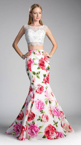 Two-Piece Prom Gown Lace White Top Printed Mermaid Skirt
