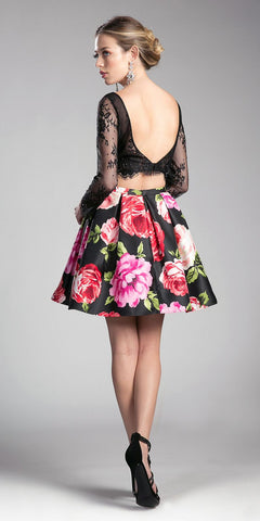 Black Illusion Long Sleeved Two-Piece Homecoming Dress