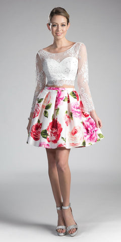 White Illusion Long Sleeved Two-Piece Homecoming Dress