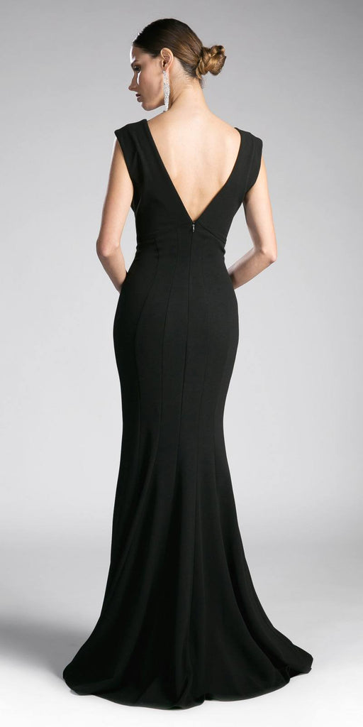 Black Long Formal Dress V-Neck and Back Sleeveless
