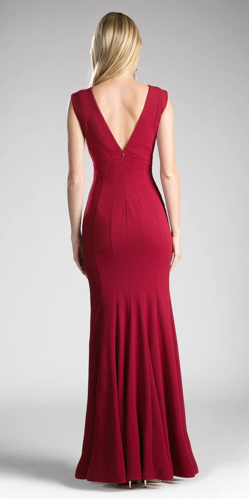 Burgundy Long Formal Dress V-Neck and Back Sleeveless