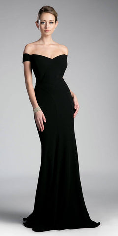 One Shoulder Ruched Bodice Black Long Column Gown