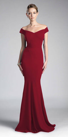 Cinderella Divine CD711 Burgundy Off-the-Shoulder Mermaid Long Formal Dress