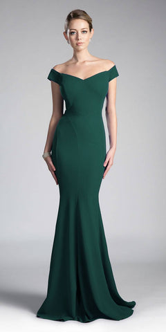Cinderella Divine CD711 Hunter Green Off-the-Shoulder Mermaid Long Formal Dress