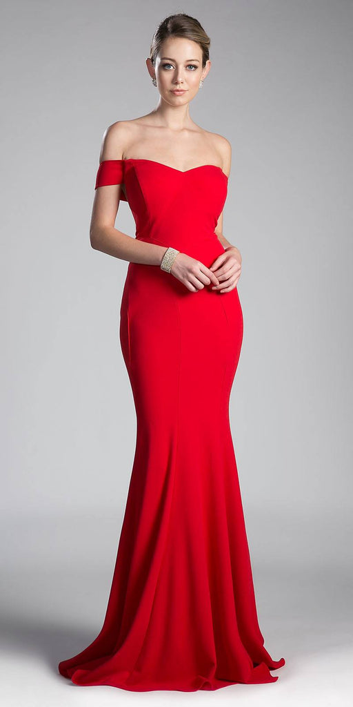 Red Off-the-Shoulder Mermaid Long Formal Dress
