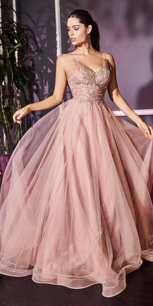 Cinderella Divine CD899 Blush Long Prom Dress with Appliqued Bodice