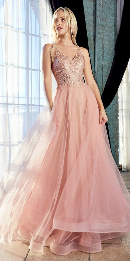 Blush Long Prom Dress with Appliqued Bodice