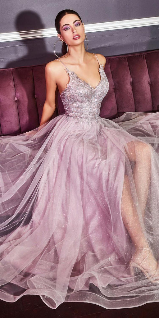 Cinderella Divine CD899 Mauve Long Prom Dress with Appliqued Bodice