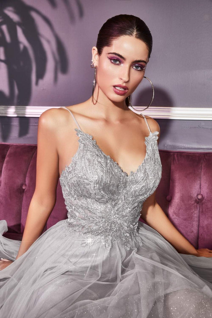 Cinderella Divine CD899 Long A-Line Silver Dress Glitter Corset Bodice Layered Tulle Skirt