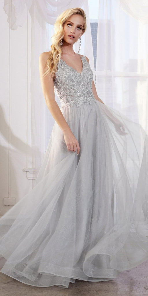 Silver Long Prom Dress with Appliqued Bodice