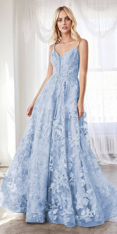 Cinderella Divine CD902 Blue Ball Gown A-line Layered Lace Applique V-Neckline Spaghetti Strap