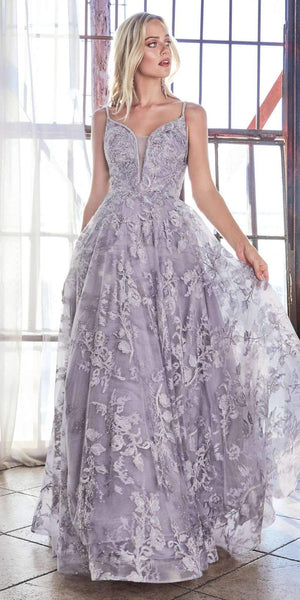Cinderella Divine CD902 English Violet Ball Gown A-line Layered Lace Applique V-Neckline Spaghetti Strap