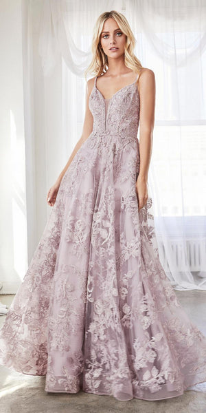 Cinderella Divine CD902 Mauve Ball Gown A-line Layered Lace Applique V-Neckline Spaghetti Strap