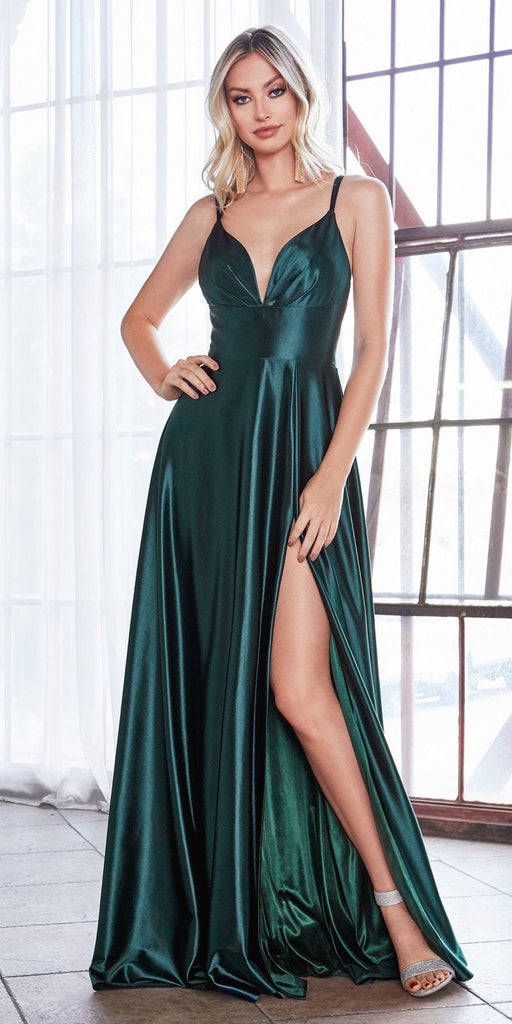 Cinderella Divine CD903 Floor Length Satin A-Line Dress Deep Emerald Pleated Bodice Leg Slit