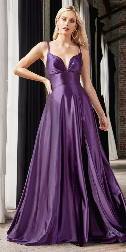 Cinderella Divine CD903 Floor Length Satin A-Line Dress Eggplant Pleated Bodice Leg Slit