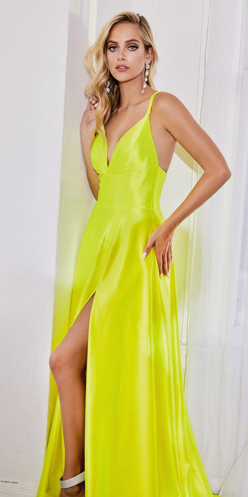 Cinderella Divine CD903 Floor Length Satin A-Line Dress Neon Yellow Pleated Bodice Leg Slit