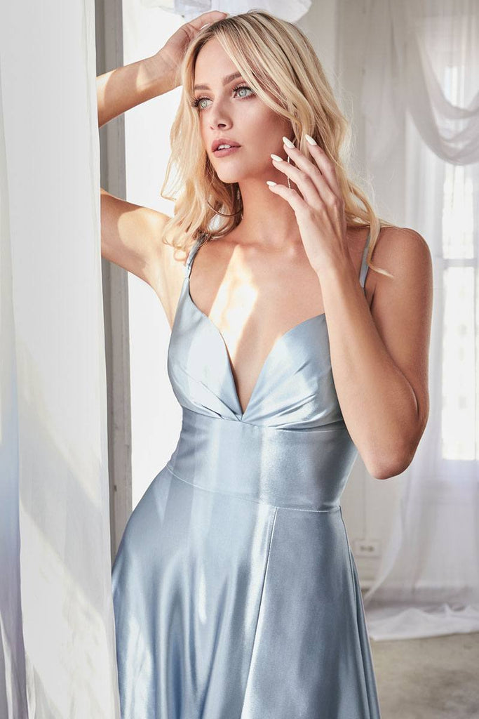 Cinderella Divine CD903 Floor Length Satin A-Line Dress Paris Blue Pleated Bodice Leg Slit
