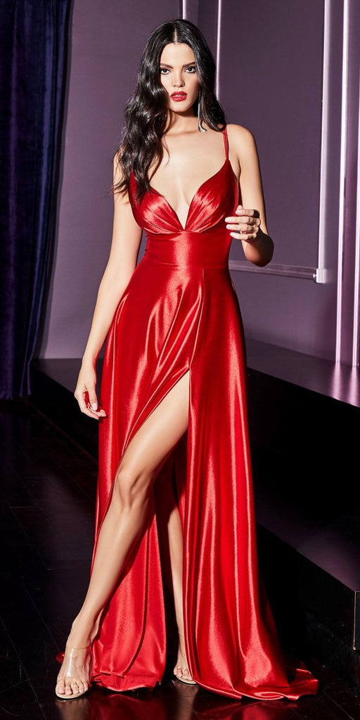 Cinderella Divine CD903 Long Sexy Satin A-Line Dress Red Open Bodice Leg Slit