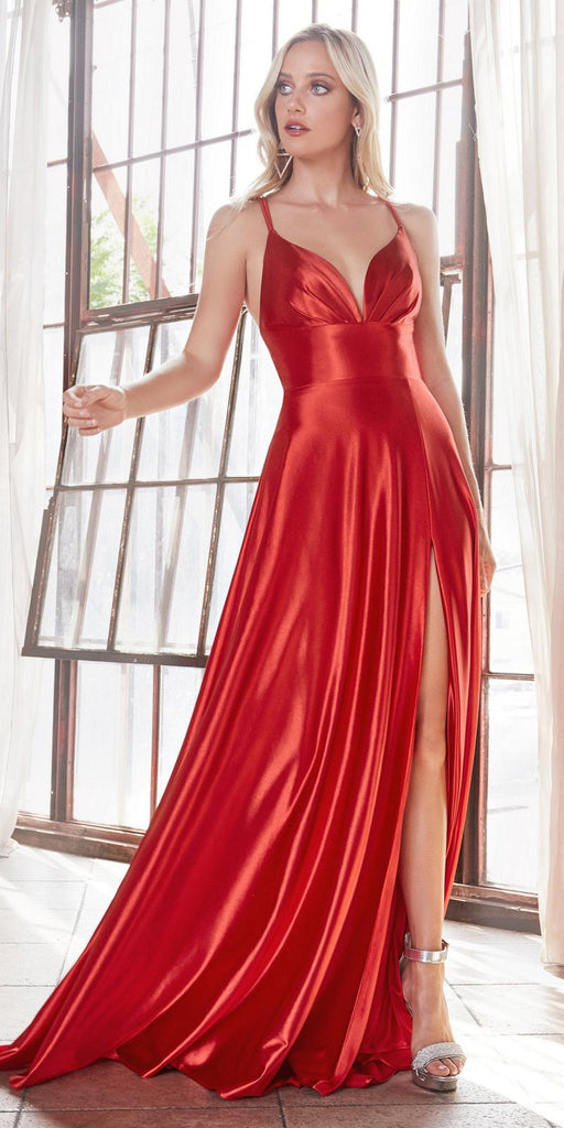 Cinderella Divine CD903 Floor Length Satin A-Line Dress Red Pleated Bodice Leg Slit