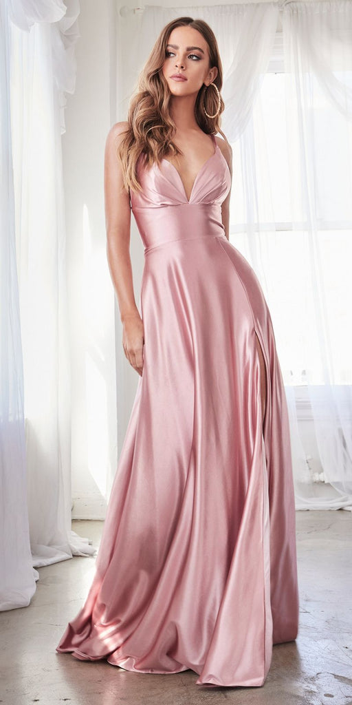 Cinderella Divine CD903 Floor Length Satin A-Line Dress Rose Pleated Bodice Leg Slit