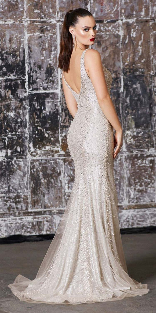 Long Slim Fit Gown Champagne Beaded Details Metallic Glitter Underlay