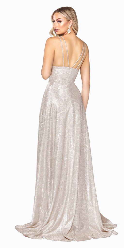 Cinderella Divine CD906 A-Line Dress Champagne Metallic Glitter Finish And Pleated Bodice