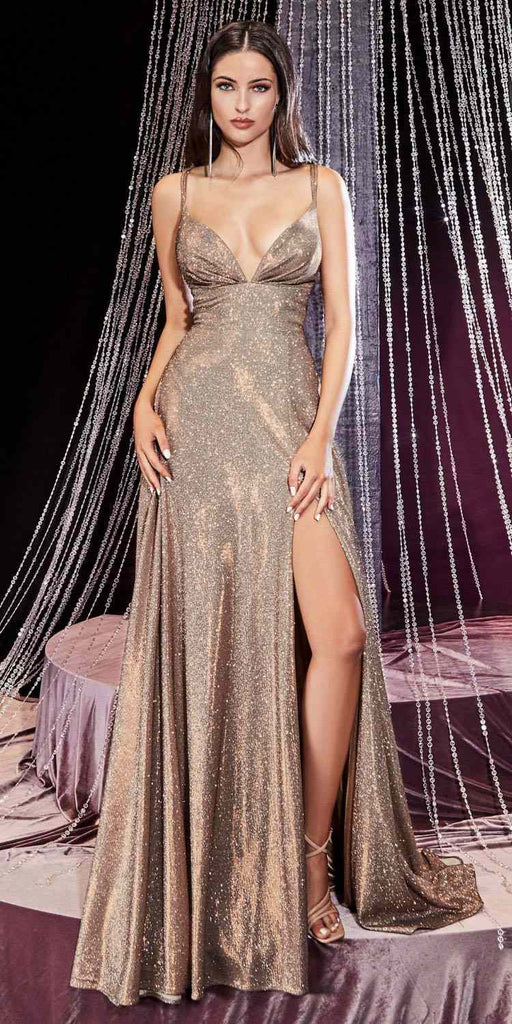 Cinderella Divine CD906 Long A-Line Sexy Dress Copper Metallic Glitter Slit Open Neckline