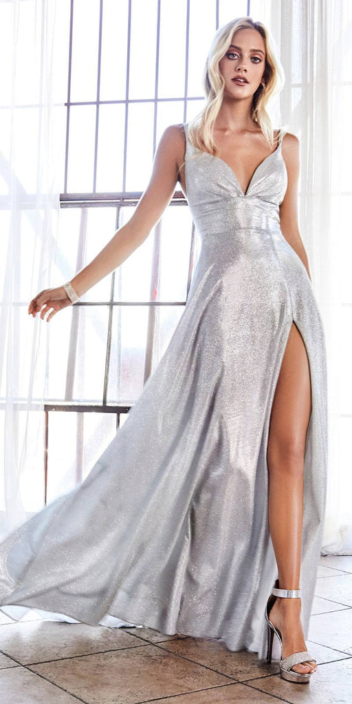 Cinderella Divine CD906 A-Line Dress Silver Metallic Glitter Finish And Pleated Bodice