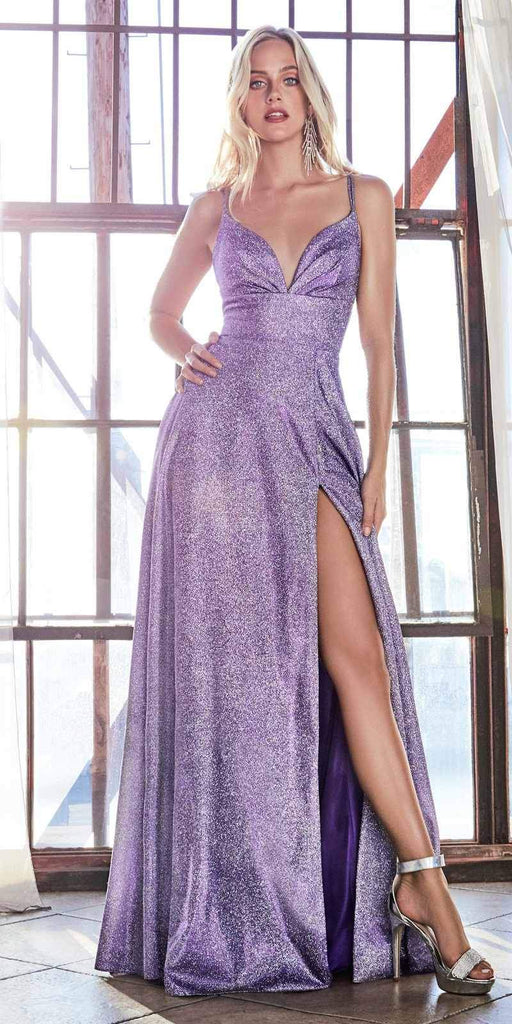 Cinderella Divine CD906 A-Line Dress Violet Metallic Glitter Finish And Pleated Bodice