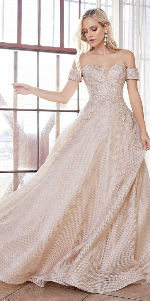 Cinderella Divine CD908 Off The Shoulder Ball Gown Champagne Lace Applique Bodice Netted Jacquard Skirt