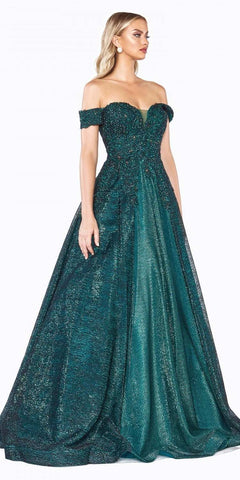 Cinderella Divine CD908 Off The Shoulder Ball Gown Emerald Green Lace Applique Bodice Netted Jacquard Skirt