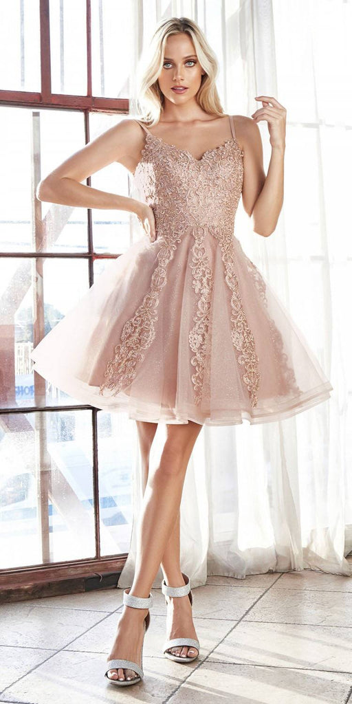 Cinderella Divine CD909 A-Line Short Dress Rose Gold With Layered Tulle Lace Applique