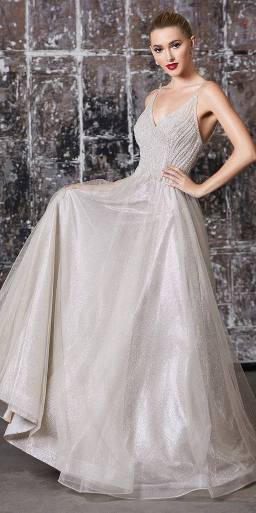 Cinderella Divine CD910 Long A-Line Gown Champagne Embellished Bodice Glitter Layered Tulle Skirt