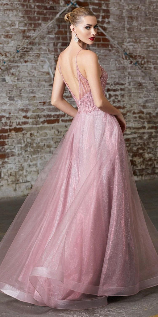 Cinderella Divine CD910 Long A-Line Gown Rose Embellished Bodice Glitter Layered Tulle Skirt