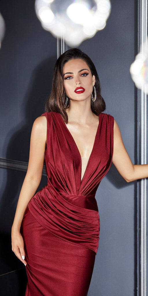 Cinderella Divine CD912 Fitted Jersey Burgundy Gown Ruched Waistline Pleated Deep V-Neckline
