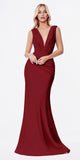 Cinderella Divine CD912 Long Fitted Jersey Gown Burgundy Ruched Pleated Waistline Deep V-Neckline