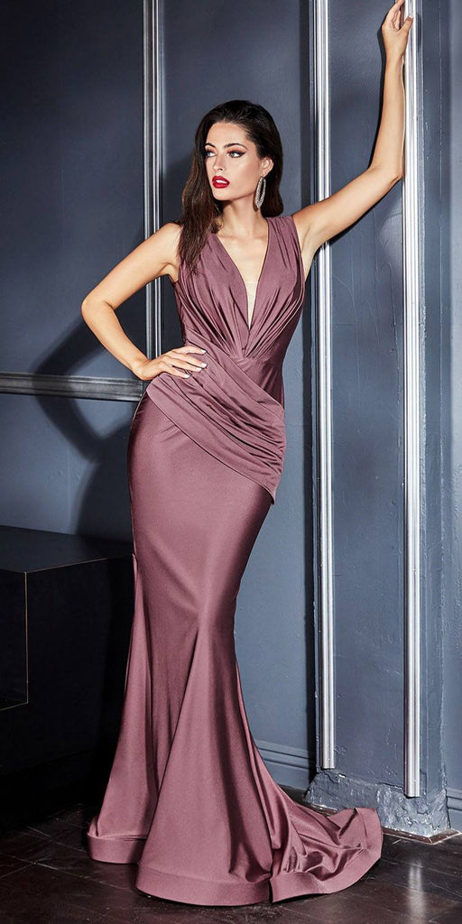 Cinderella Divine CD912 Fitted Jersey Deep Mauve Gown Ruched Waistline Pleated Deep V-Neckline