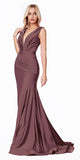 Cinderella Divine CD912 Long Fitted Jersey Gown Deep Mauve Ruched Pleated Waistline Deep V-Neckline