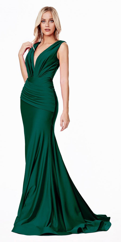 Cinderella Divine CD912 Long Fitted Jersey Gown Emerald Green Ruched Pleated Waistline Deep V-Neckline
