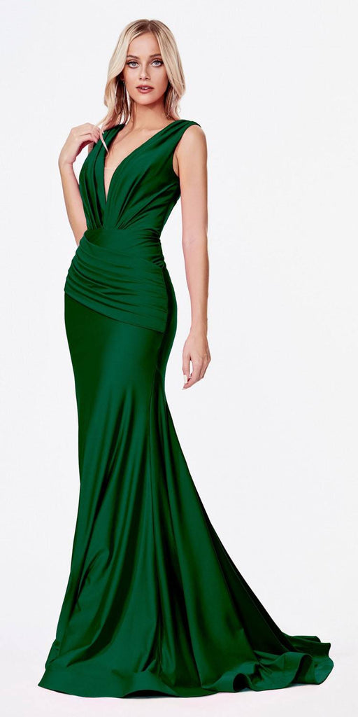 Cinderella Divine CD912 Fitted Jersey Emerald Green Gown Ruched Waistline Pleated Deep V-Neckline