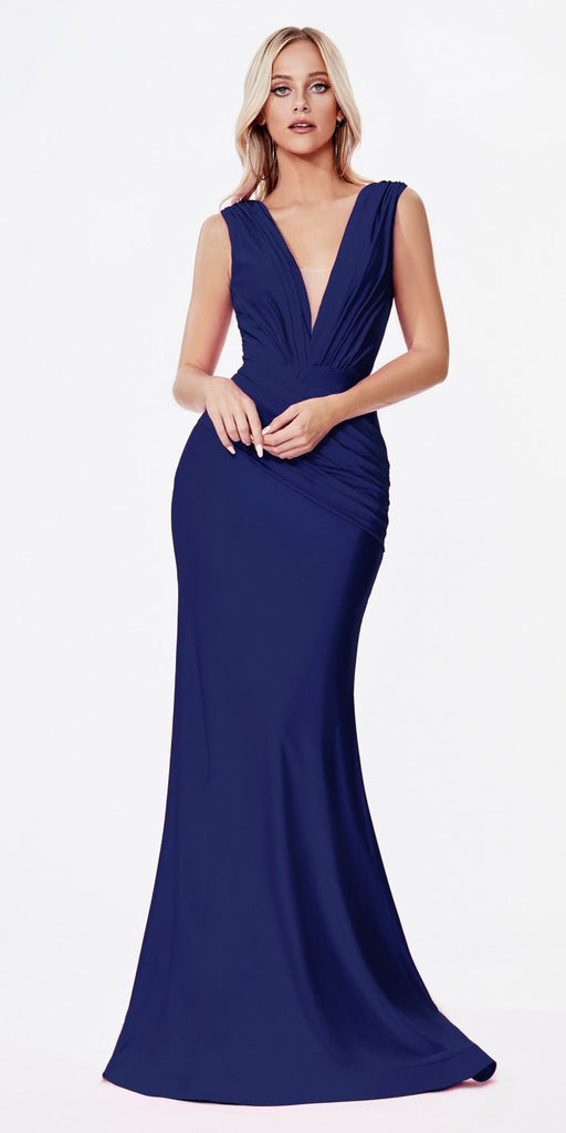 Cinderella Divine CD912 Long Fitted Jersey Gown Navy Blue Ruched Pleated Waistline Deep V-Neckline
