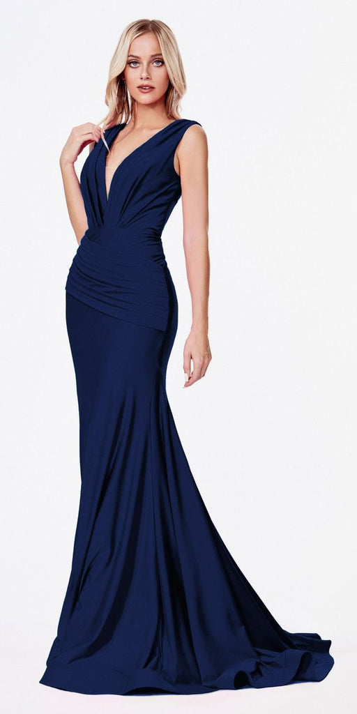 Cinderella Divine CD912 Fitted Jersey Navy Blue Gown Ruched Waistline Pleated Deep V-Neckline